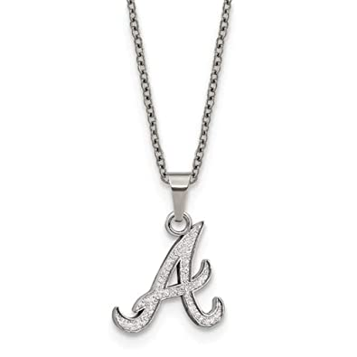 d7bc2b1d683 Amazon.com: Q Gold MLB Atlanta Braves Stainless Steel Atlanta Braves Pendant  on Chain with 2 in ext Necklace Size One Size: Jewelry