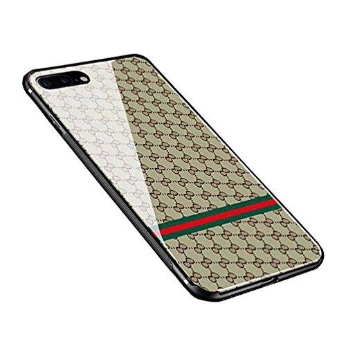 iPhone 8 plusケース 強化ガラスケース 背面ガラス 9H硬度 TPU 全面保護 アイホン7プラスケース おしゃれ 高級感 ストラップホール付き (04)