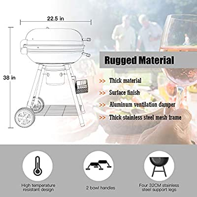 Charcoal Grill, 22.5 inch Diameter Practical Advanced Double-layer Grid Portable Grill, Reinforced 1.25 inch Thickened Steel Support Frame BBQ Grill, One-touch Clean System(Ash Leak)with Storage Shelf