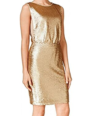Calvin Klein Glitter Sequined Women's Sheath Dress Gold 4
