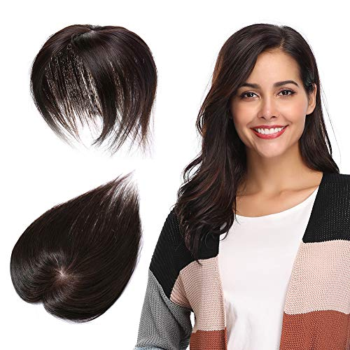 100% Remy Human Hair Silk Base Top Hairpieces Replacement Clip in Topper For Women Crown Top Piece Short 10''/10inch #2 Dark Brown 20g