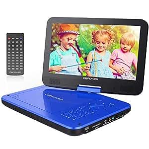 "Reproductor de DVD Portátil DE 10.5"" con Pantalla Giratoria, 5 Horas Recargable incorporada de la batería, Compatible con Tarjetas SD y USB (Azul)"