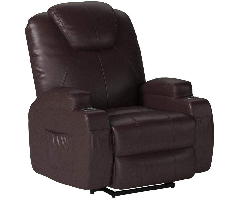U-MAX Recliner Power Lift Chair Wall Hugger PU Leather with Remote Control (Brown) by U-MAX
