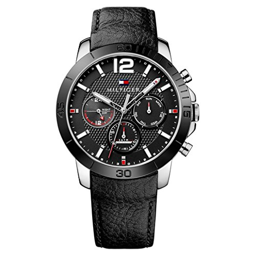 Hilfiger Multifunction Tommy Watch - Tommy Hilfiger Men's Quartz Stainless Steel and Leather Automatic Watch, Color:Black (Model: 1791268)