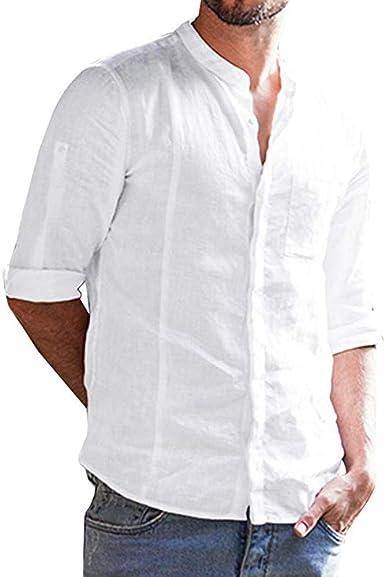 Camisa Casual De Manga Ropa De Color Larga Sólido Festiva con ...