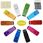 8GB USB Flash Drive, 10 Pack 8 GB Flash Drive Bulk 8 Giga Memory Stick Swivel Thumb Drive Foldable USB 2.0 Pendrives Mixed Colors Jump Drives by Uflatek - Purple Red Blue Green Black with Strings