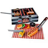 Melissa & Doug Grill and Serve BBQ Set (20 pcs) - Wooden Play Food and Accessories