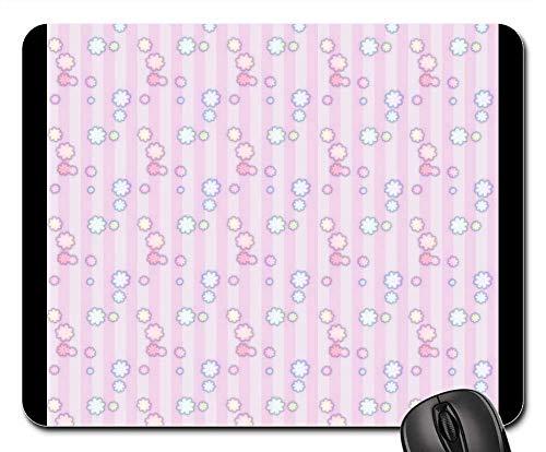 Mouse Pads - Flowers Stripes Pattern Paper Wallpaper Pink