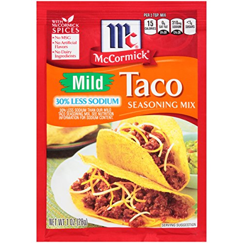 McCormick 30% Less Sodium Mild Taco Seasoning Mix, 1 oz, All the Delicious Flavor, 1/3 Less Salt, Perfect for Low Sodium Diets, Now You Can Have Taco Night Without The - Dip Seasoning Taco