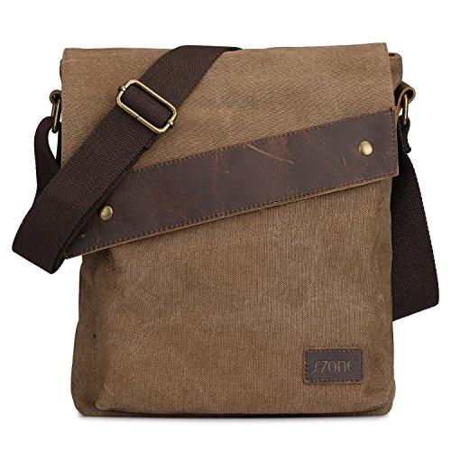 (S-ZONE Vintage Lightweight Small Canvas Messenger Bag Travel Shoulder Crossbody Purse)