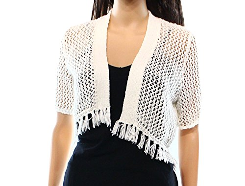Boho-Chic Vacation & Fall Looks - Standard & Plus Size Styless - Calvin Klein Womens Petites Tape Crochet Fringe Shrug Sweater White PXS