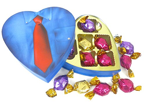Grandpa's Dad's GODIVA CHOCOLATE HEART Blue Shirt with Red Tie Box Filled with Godive Chocolate .