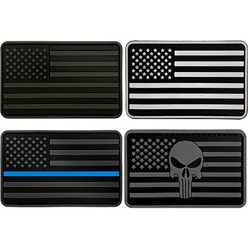 Military Tactical Morale Patches American Flag Patch PVC Rubber USA Flag Punisher Thin Blue Line Velcro Decorative Patches for Backpacks Clothes Jackets Military Uniform Tactical Bag (4pvc Patch)