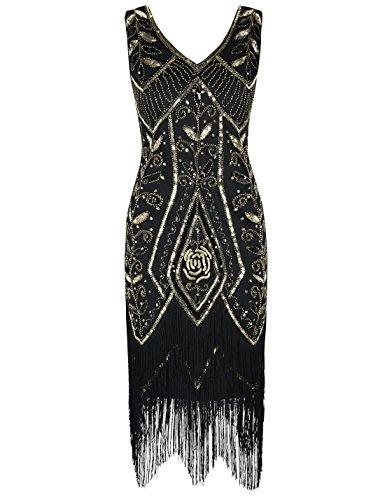 PrettyGuide Women 1920s Art Deco Sequin Fringed Charleston Flapper Dress XL -