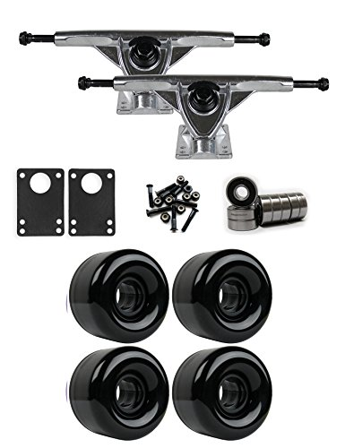 TGM Skateboards RKP Raw Longboard Trucks Wheels Package 65mm x 44mm 83A Black