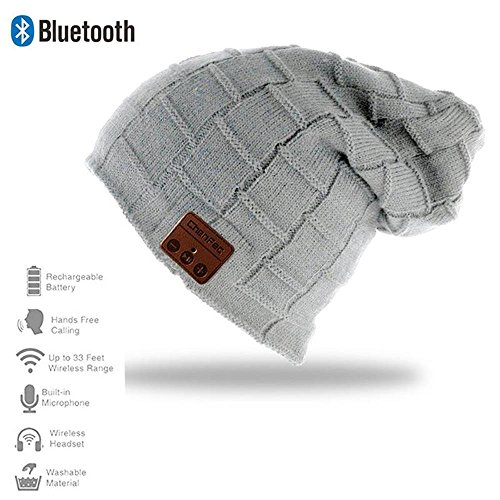 HONGYU 2017 Fashion Wireless Bluetooth Beanie Hat Headphone Headset Music Audio Cap for Women Men with Speaker & Mic Hands Free for Iphone Android Cell Phones Best Christmas Gifts - Light gray