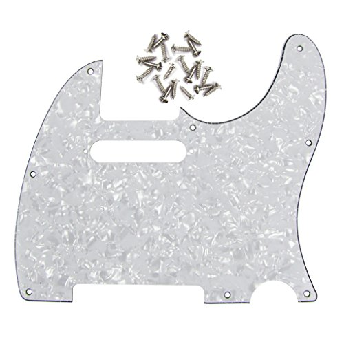 IKN 3Ply Tele Guitar Pickguard 8 Hole for Tele Style Guitar, White Pearl, w/Screws