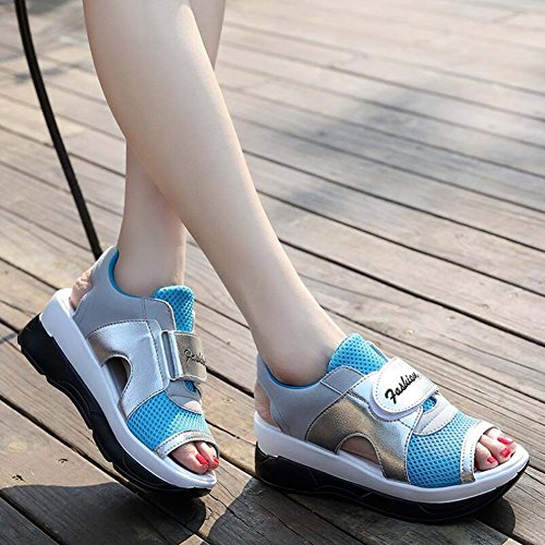 Angelliu Mujer Girls Ahueca Hacia Fuera Peep Toe Active Sports Sandals Platform Shoes Blue