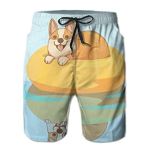 Corgi Swimming Men's Swim Trunks Quick Dry Bathing Suits Summer Casual Surfing Beach Shorts