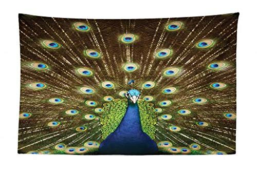 Ambesonne Peacock Tapestry, Portrait of Peacock with Feathers Out Vibrant Colors Birds Summer Garden, Fabric Wall Hanging Decor for Bedroom Living Room Dorm, 45 W X 30 L Inches, Navy Blue Green Brown from Ambesonne