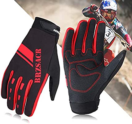 BRZSACR Cycling Bike Bicycle Motorcycle Gym Gloves Men Full Finger with Screen Compatible Shockproof Foam Padded Riding Biking Glove Outdoor Sports Waterproof MTB Glove