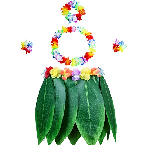 (Gooidea Elastic Ti Leaf Hula Skirt with Hibiscus Flower Leis 5pcs Pack Luau Party Supplies Hawaiian Costume Set Amazing Party Favors Decorations)