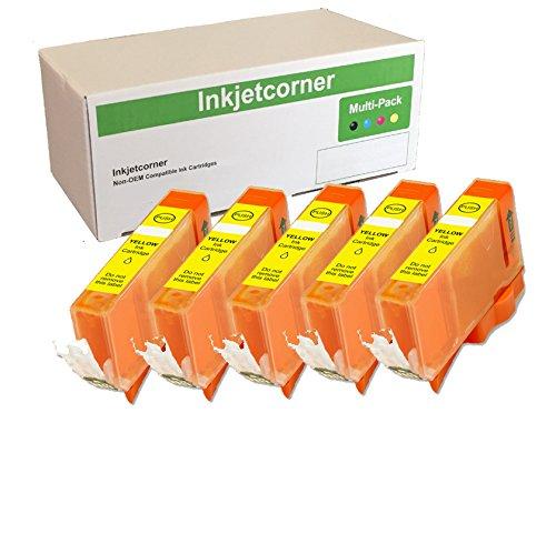 Inkjetcorner Compatible Ink Cartridge Replacement for CLI-221Y CLI-221 for use with iP3600 iP4600 iP4700 MP560 MP620 MP640 MX860 MX870 (Yellow, 5-Pack) ()