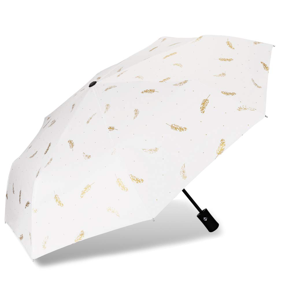 Cuby UV Sun Umbrella Compact Folding Travel Umbrella Auto Open and Close for Windproof, Rainproof & 99% UV Protection Parasol with Black Anti-UV Coating(White feather)