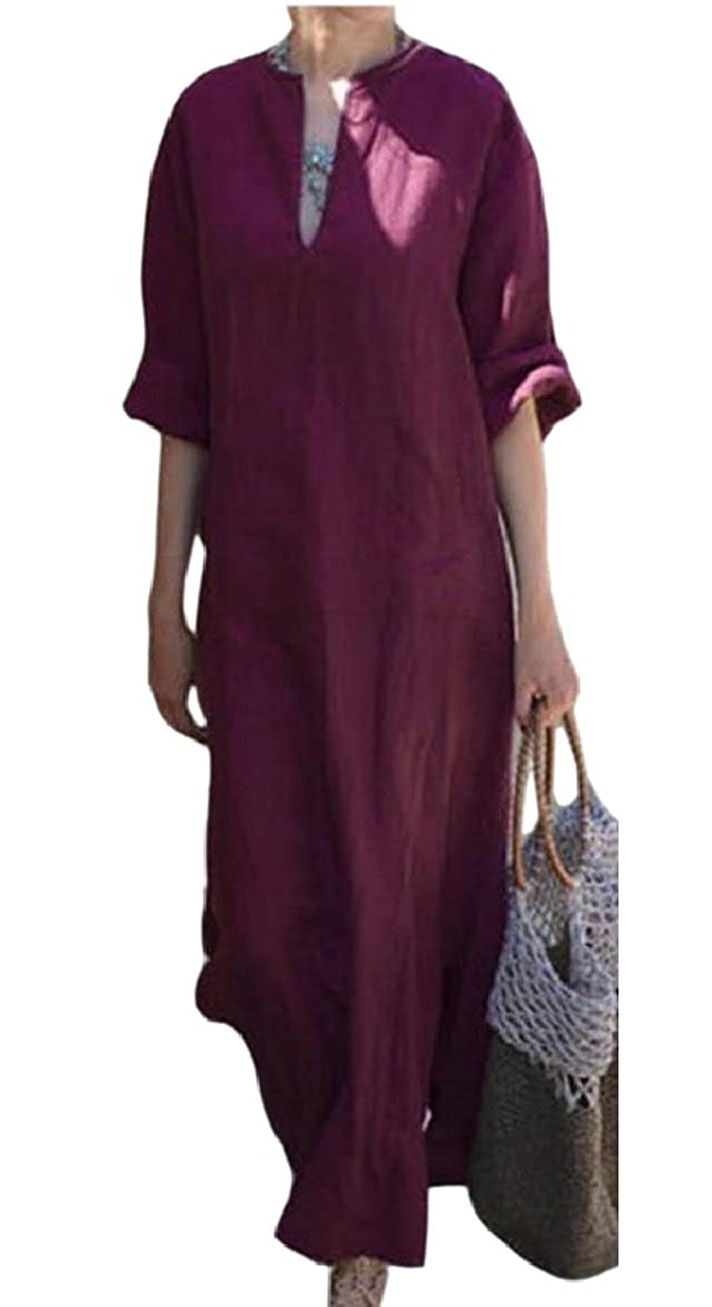 FLCH+YIGE Womens V-Neck Short Sleeve Side Split Beach Long Maxi Dress