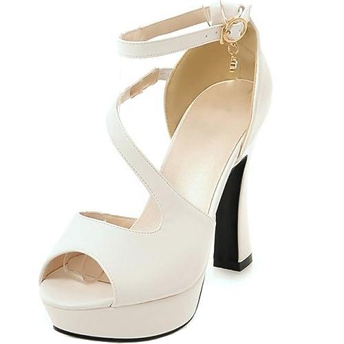 a5de45dd COOLCEPT Mujer Moda Al Tobillo Sandalias Peep Toe Plataforma Tacon Ancho  Zapatos: Amazon.es: Zapatos y complementos