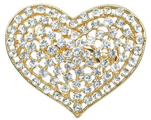 Gyn&Joy Golden Tone Clear Crystals Rhinestone Valentine Hearts Pin Brooch BZ162C - Golden Heart Brooch