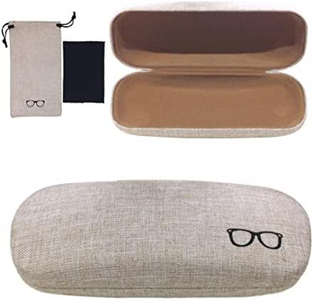 Yulan Hard Shell Glasses Case,Linen Fabric Case for Eyeglasses and Sunglasses(Includes Glasses Pouch)
