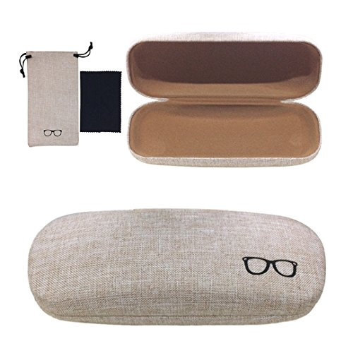 Yulan Hard Shell Glasses Case,Linen Fabric Case for Eyeglasses and Sunglasses(Includes Glasses - Case Hard Glasses
