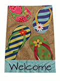 Home Garden Flag Summer Flip Flop Welcome Design – Summer Garden Flag 12.5 x 18