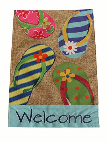 Home Garden Flag Summer Flip Flop Welcome Design - Summer Garden Flag 12.5 x 18