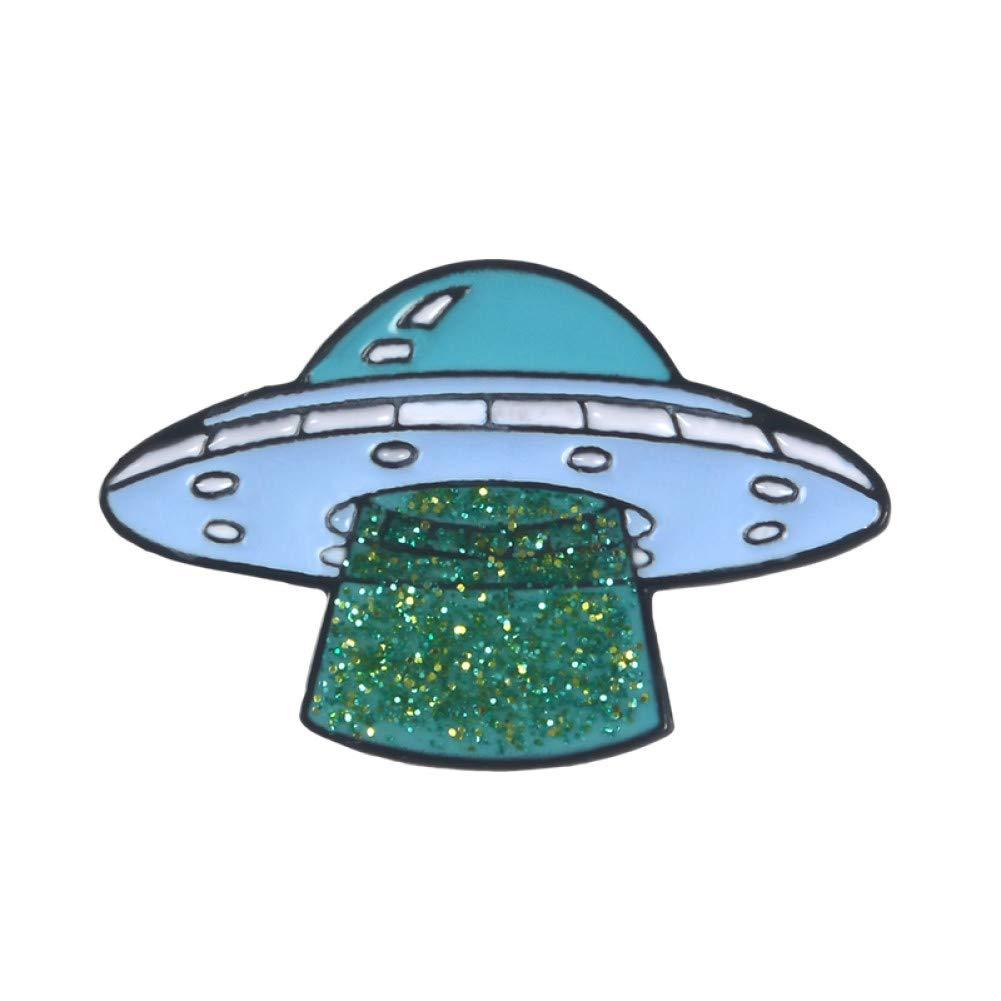 Style1 XINGQI Spilla Collezione Universo Spilla Smaltata Cartone Animato UFO Luna Stellata Fonografo Galassia Spilla Spaziale Spille da Bavero Distintivo in Metallo Regalo per Amico Bambino