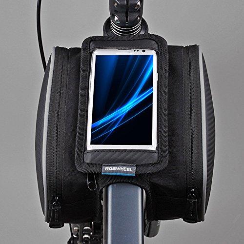 anizun (TM) Wasserdicht ROSWHEEL 1.8L Fahrrad Front Rahmen Tasche Fahrrad Tasche Tube Paar Double Tasche für 5in Handy 12813