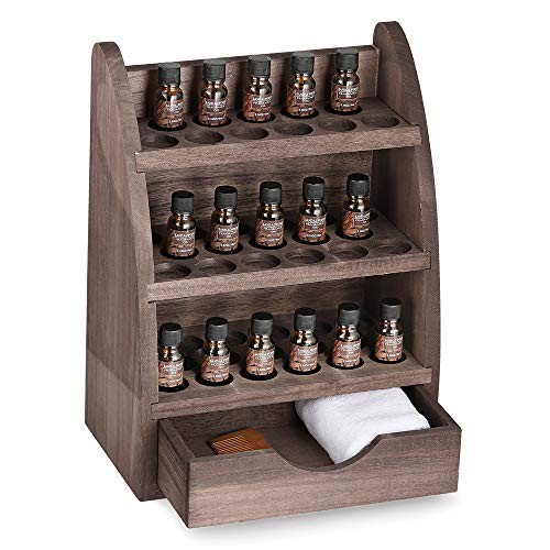 LIANTRAL Essential Oils Storage Rack, Wooden Nail Polish Display Holder Organizer- 45 Slots for 10/15/20/30ml Bottles - Oils Nails Essential