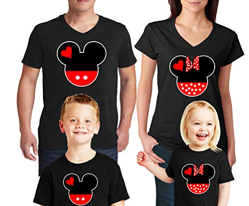 Natural Underwear Family Trip #2 Head and Ears 2019 T-Shirts Trip Mouse Youth Girls V Neck T Shirts Black Youth-Girls Medium