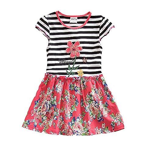 VIKITA Girls Summer Casual Flower Short Sleeve Cotton Dress SH6609BORLAND 4-5 Years - Together Short Sleeve Dress