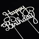 Happy Birthday Rhinestone Cake Topper for Birthday Party Decorations
