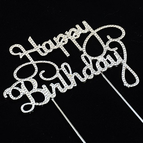 Happy Birthday Rhinestone Cake Topper for Birthday Party Decorations by GRACE.Z
