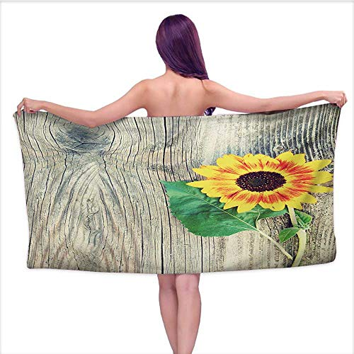 Bensonsve Sauna Towel Sunflower,Sunflower on Wooden Old Board Bouquet Floral Mother Earth Artsy Photo,Brown Green Yellow,W20 xL39 for Kids Mickey Mouse