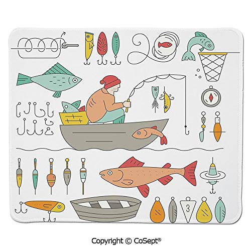 Premium-Textured Mouse pad,Fishing Gear Fisherman in The Boat Catching Fish Rod Bobber Tackle Hook Clip Work,for Laptop,Computer & PC (11.81