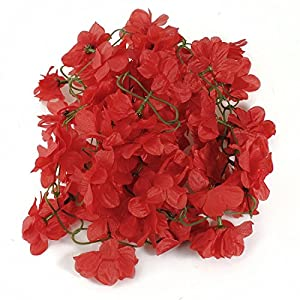 Artificial & Dried Flowers - Tfbc 2pcs 2m Artificial Fake Silk Azalea Flower Vine Plants Garland Wedding Decor Red - Azaleas Flower Decoration Vine Garland Silk 24