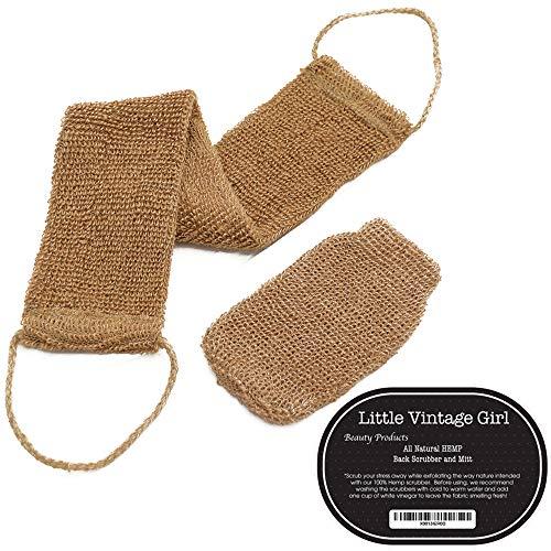 LittleVintageGirls All Natural Hemp Back and Body Scrubber. Exfoliates, Beautifies, Environmentally Friendly. Includes Hand Mitt