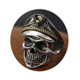 Epinki 925 Sterling Silver Men Ring Skull Pirates Military Hat Allergy Free Men Ring Silver Gold Size 8