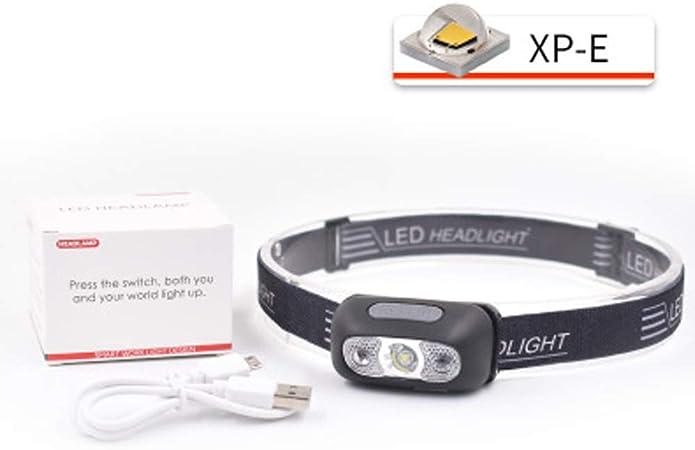 chasser au Camping phares Rechargeables USB /étanches et avanc/és Lampe Frontale avec capteur Phares /à Del Ultra Brillants 4 Modes de phares Confortables pour Courir p/êcher en Pleine-White-XPE