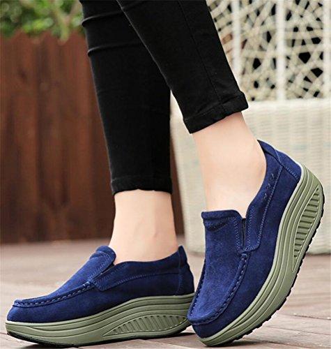 Loafer Schoenen Voor Dames Platform, Faux Bont Gevoerde Enkellaarsjes Winter Sneakers 4 Kleuren Maat 5-8 Marine Blauw