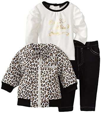 Calvin Klein Baby-girls Newborn Animal Print Jacket with Long Sleeve Tee And Jean, Assorted, 6-9 Months